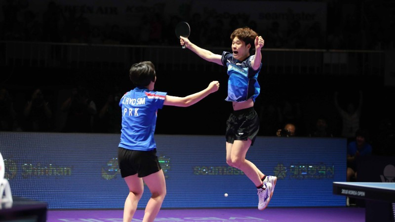 Jang Woojin and Cha Hyo Sim won gold together at the Korea Open table tennis event in Daejeon ©ITTF