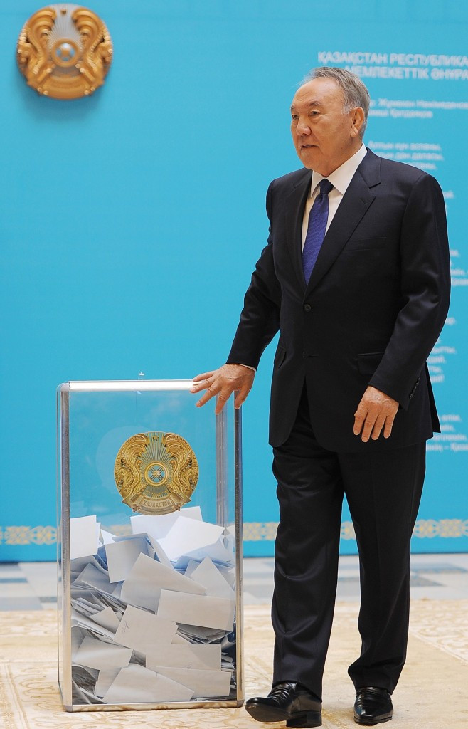 Nursultan Nazarbayev casting his vote en route to his landslide Presidential victory ©AFP/Getty Images