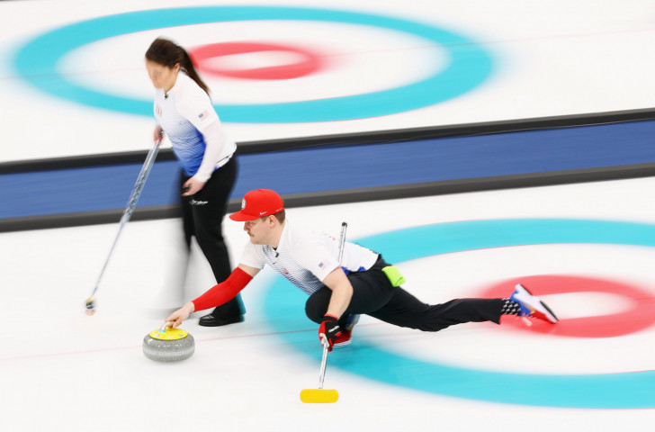 Matt Hamilton and Becca Hamilton of the USA compete during the curling mixed doubles at the Pyeongchang 2018 Winter Games ©Getty Images