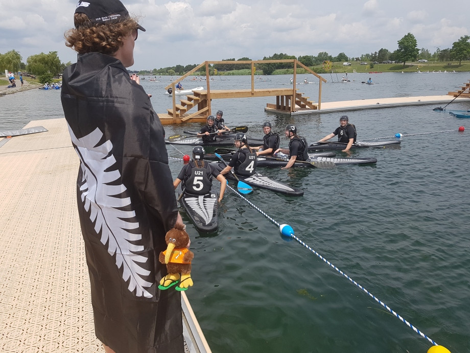 New Zealand's under-21 women take to the water on the opening day of the ICF Canoe Polo World Championships in Welland, Canada today ©ICF