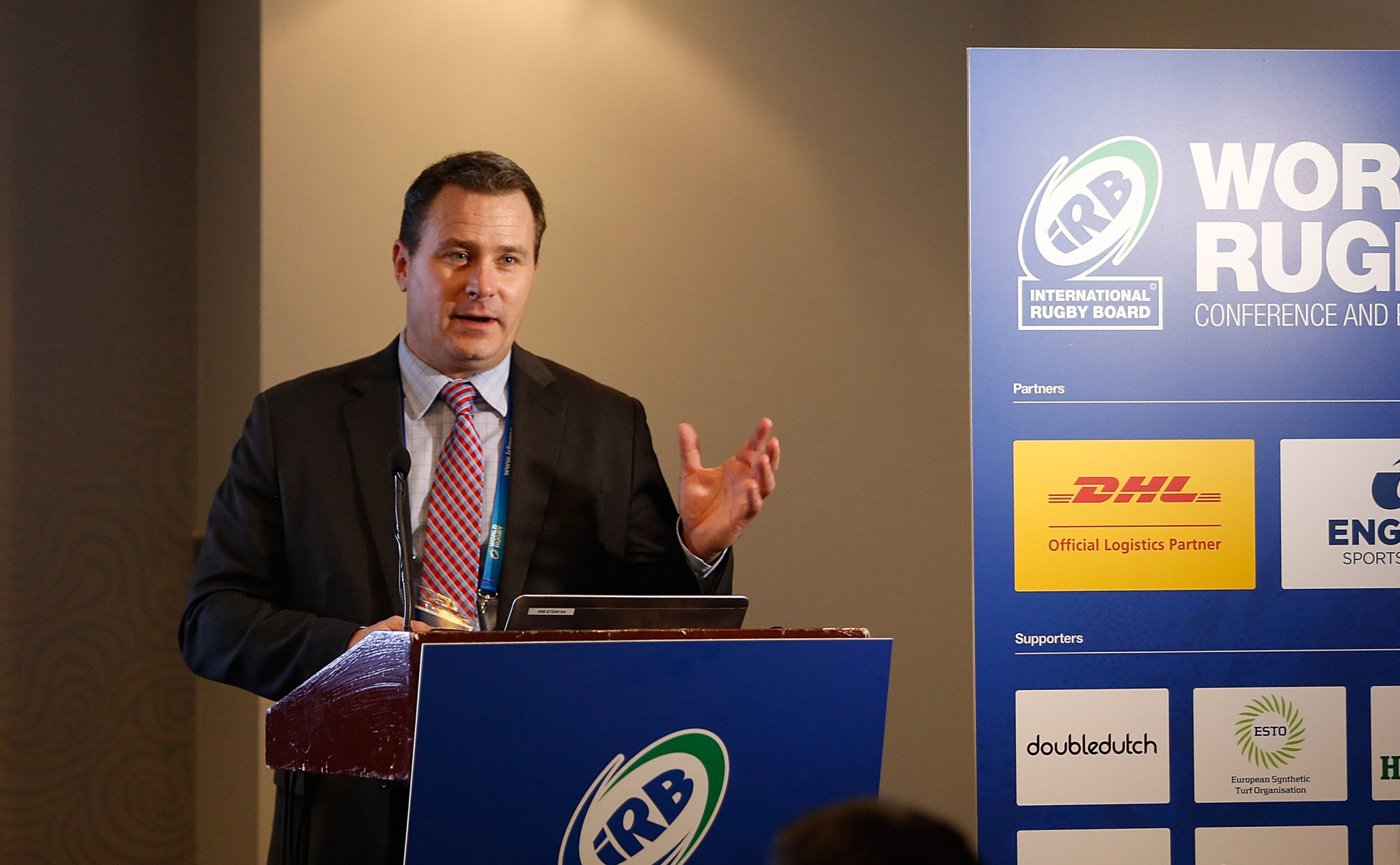 Rob Koehler pictured speaking at a World Rugby conference in 2013 ©Getty Images