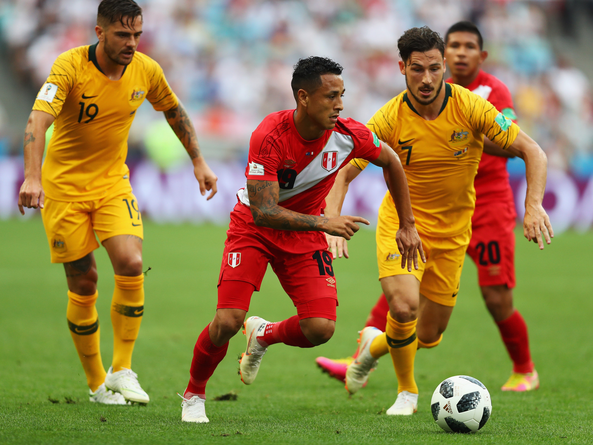 Australia pictured facing Peru during the FIFA World Cup ©Getty Images