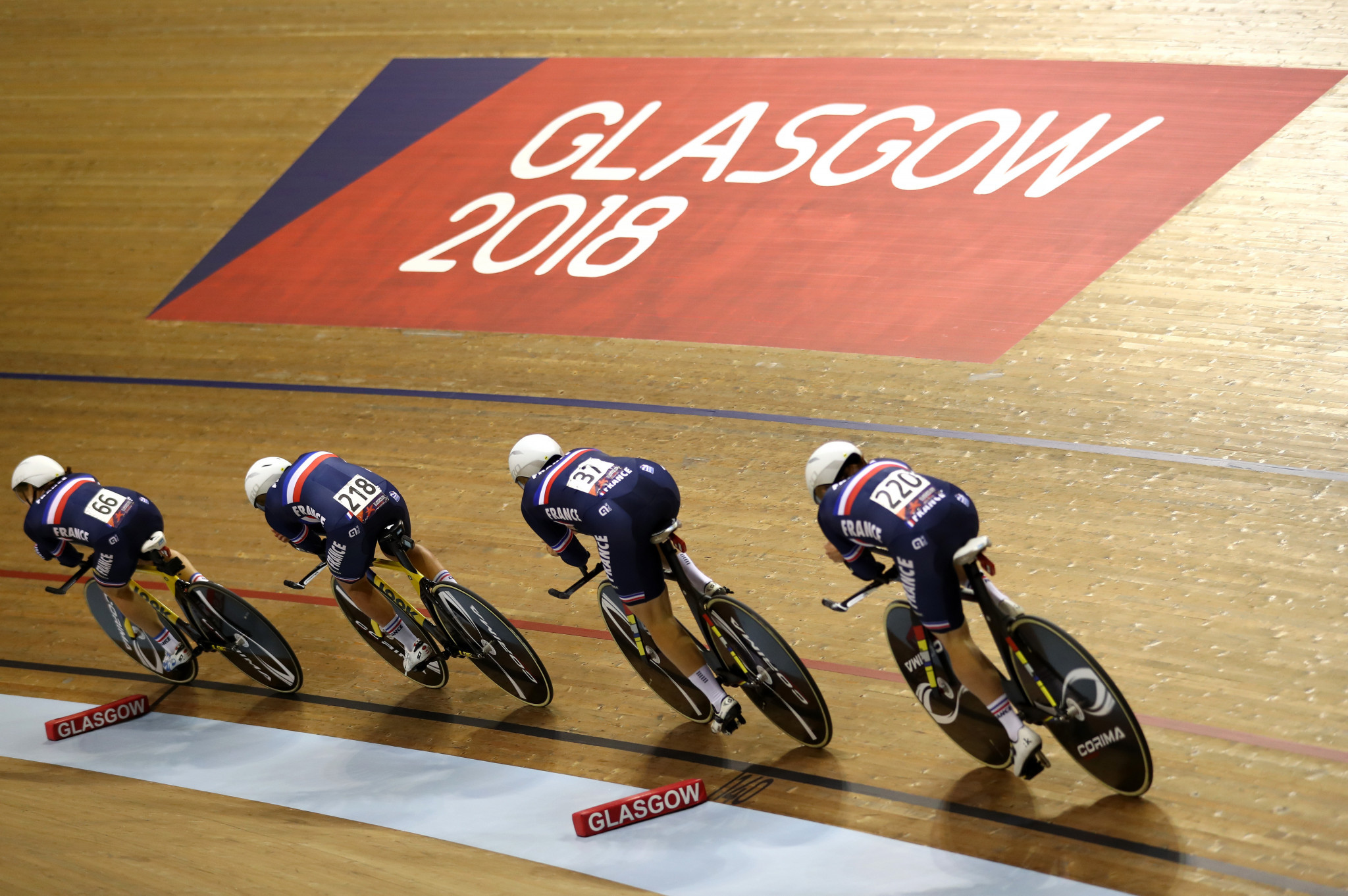 Team pursuit qualification was the focus of the first day at the Sir Chris Hoy Velodrome ©Getty Images