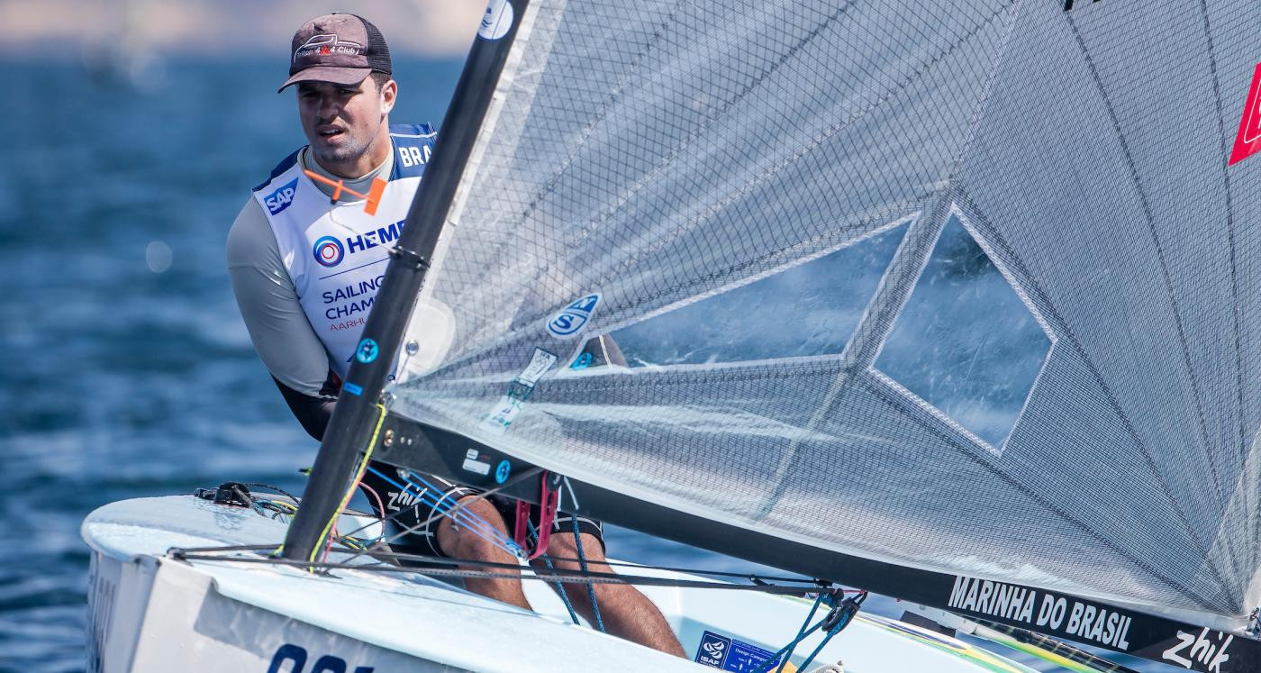 Brazil's Jorge Zarif, favourite in the Finn class, won his opening race at the Sailing World Championships in Aarhus ©Getty Images