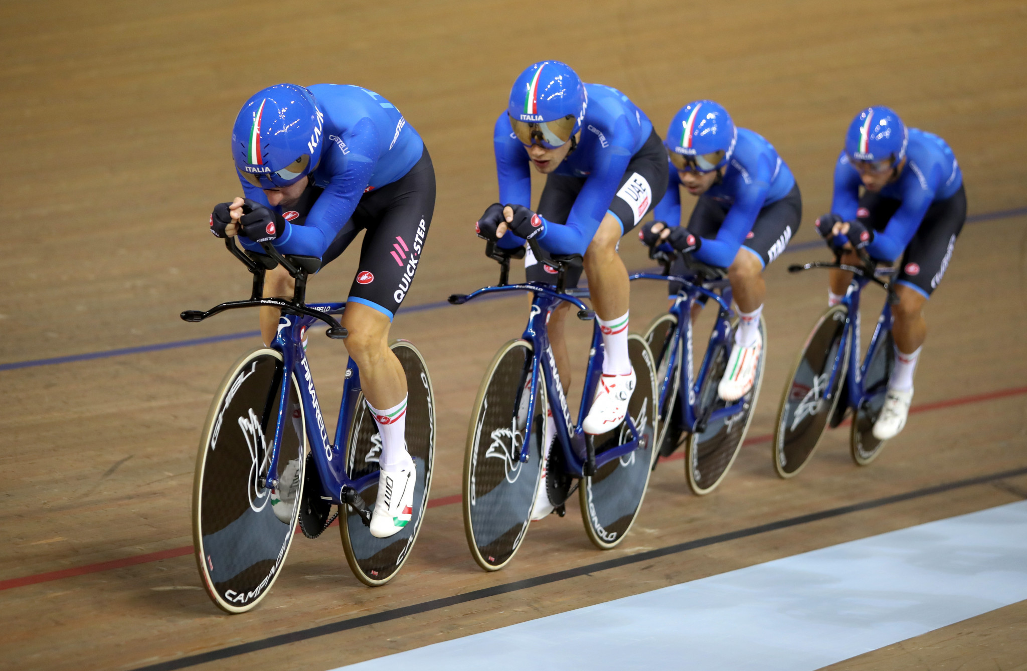 Italy posted the quickest men's qualifying time and will face Britain in the first round ©Getty Images
