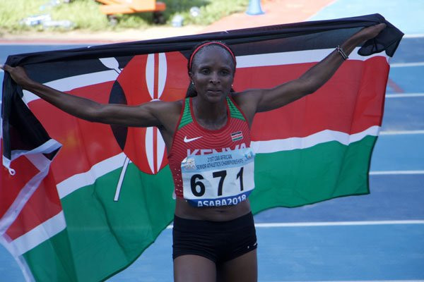 Hellen Obiri won the 5,000m at the African Athletics Championships in an event that continues to be dogged by logistical problems ©Twitter