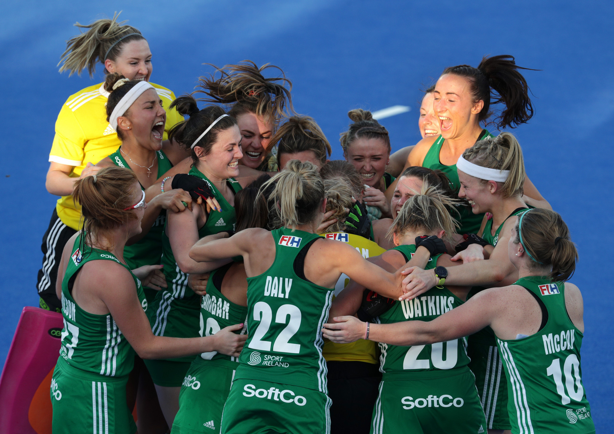 Ireland celebrate reaching the Women's Hockey World Cup semi-finals in London after a penalty shoot-out win over India ©Getty Images