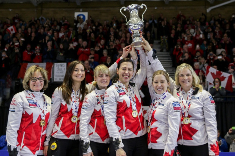 Canada celebrate winning the 2018 World Women's Curling Championships title in North Bay