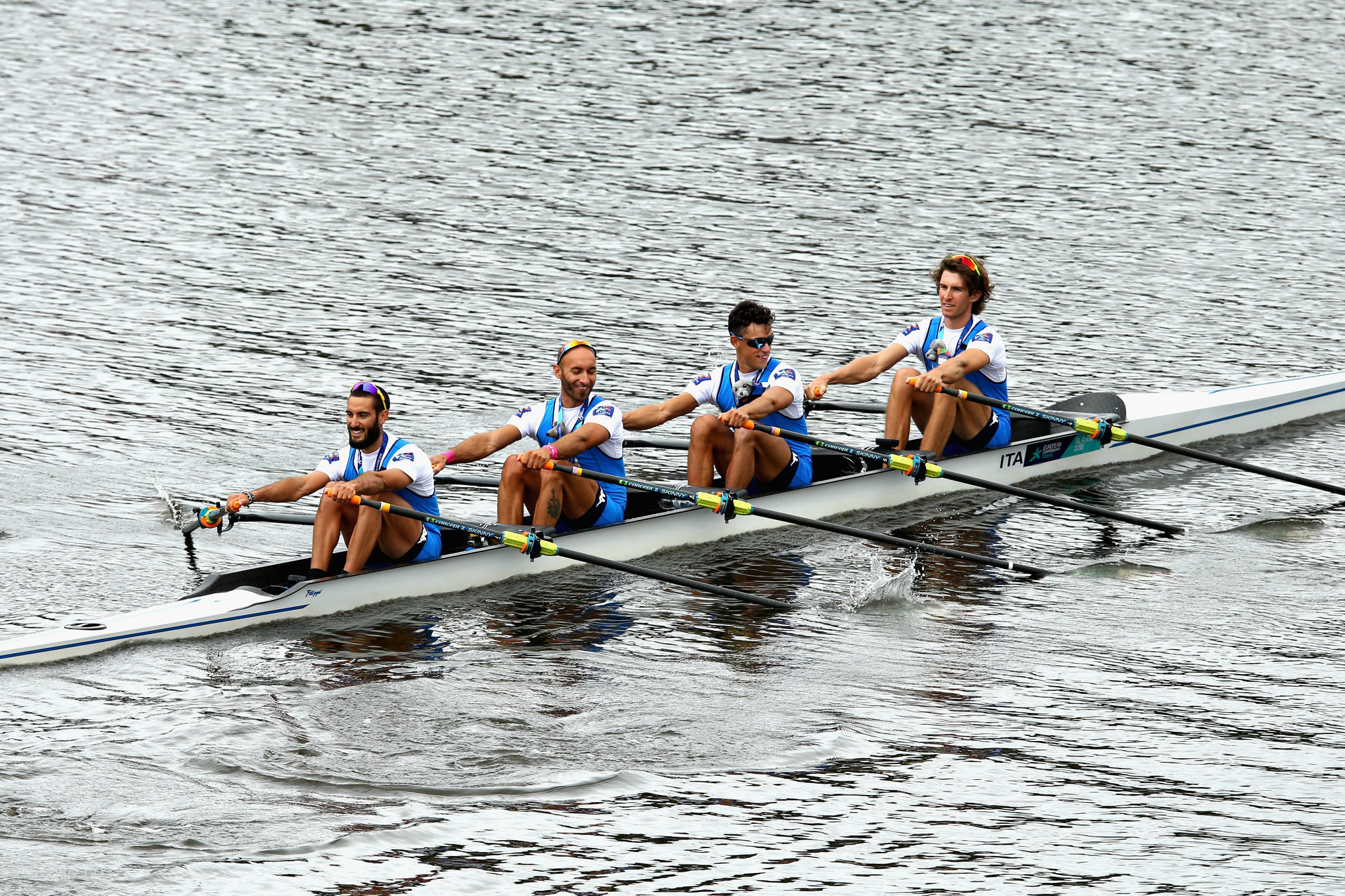 Italy's lightweight men's quadruple sculls crew earned a dominant victory ©Getty Images