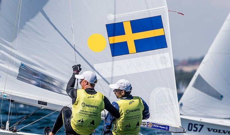 Anton Dahlberg and Fredrik Bergstrom of Sweden are among other leaders ©World Sailing