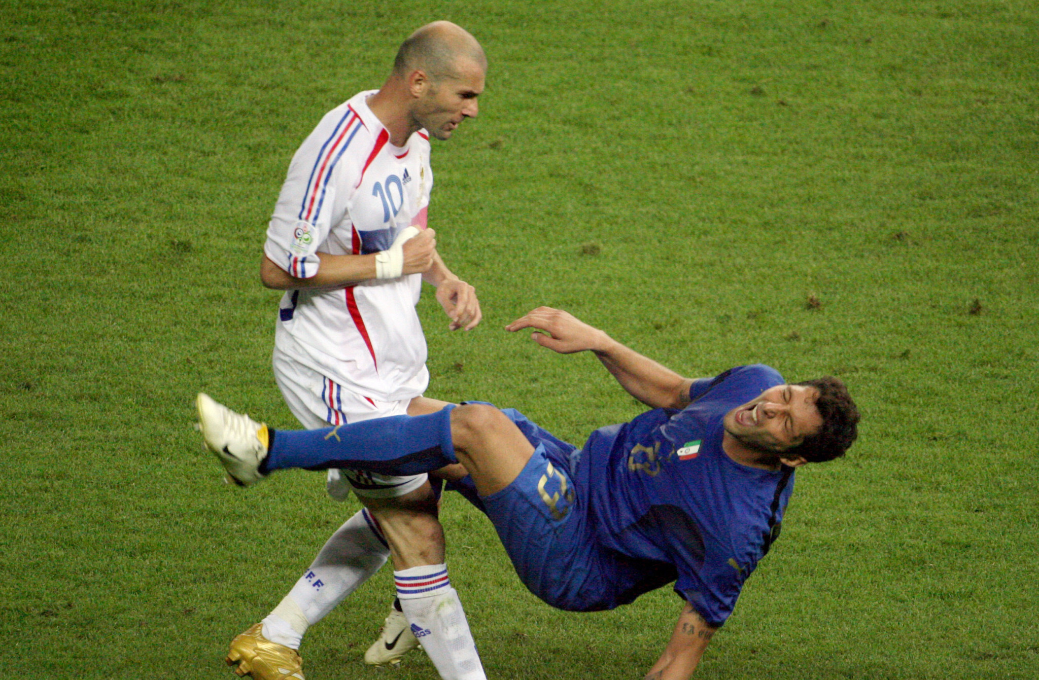 Zinedine Zidane's infamous headbutt at the Olympic Stadium in the 2006 World Cup Final ©Getty Images