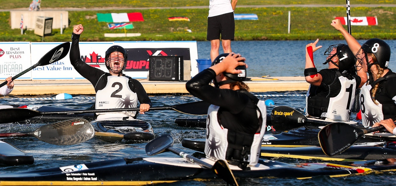 Germany won the women's under-21 title for the fourth time in a row at the Canoe Polo World Championships ©ICF