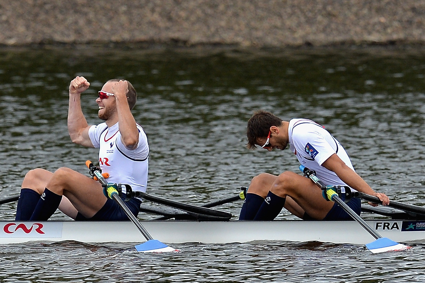 Hugo Boucheron and Matthieu Androdias won a closely fought men's double sculls final ©Getty Images