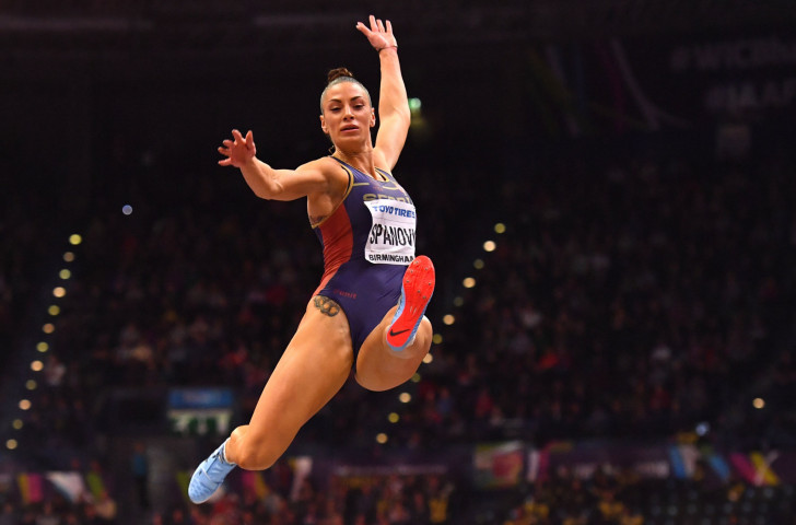 Serbia's Ivana Spanovic, pictured en-route to the world indoor long jump gold in Birmingham this year, will defend her European title in Berlin ©Getty Images