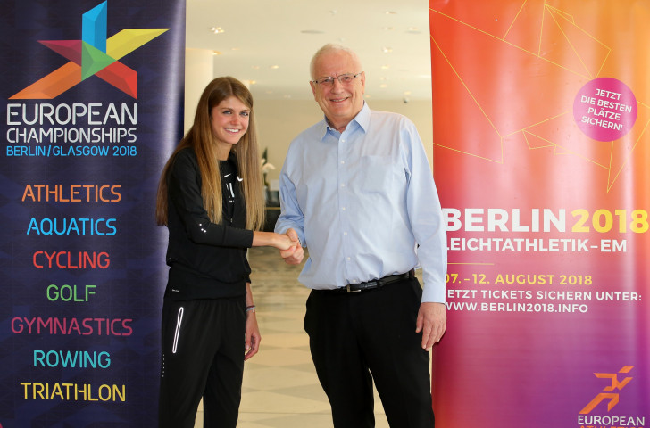 European Athletics President Svein Arne Hansen, pictured in April with German athlete Konstanze Klosterhalfen, has underlined his sport's commitment to future multi-sport editions of the European Championships  ©Getty Images