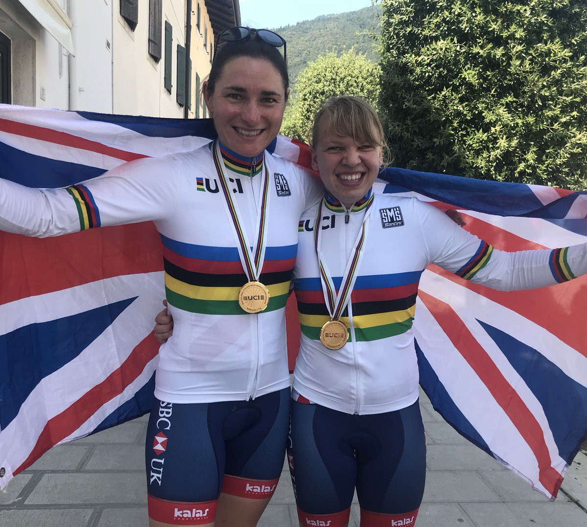 Dame Sarah Storey, left, and Katie Toft, who both won gold for Britain on the final day of the Para-cycling Road World Championship in Maniago, Italy today ©Twitter