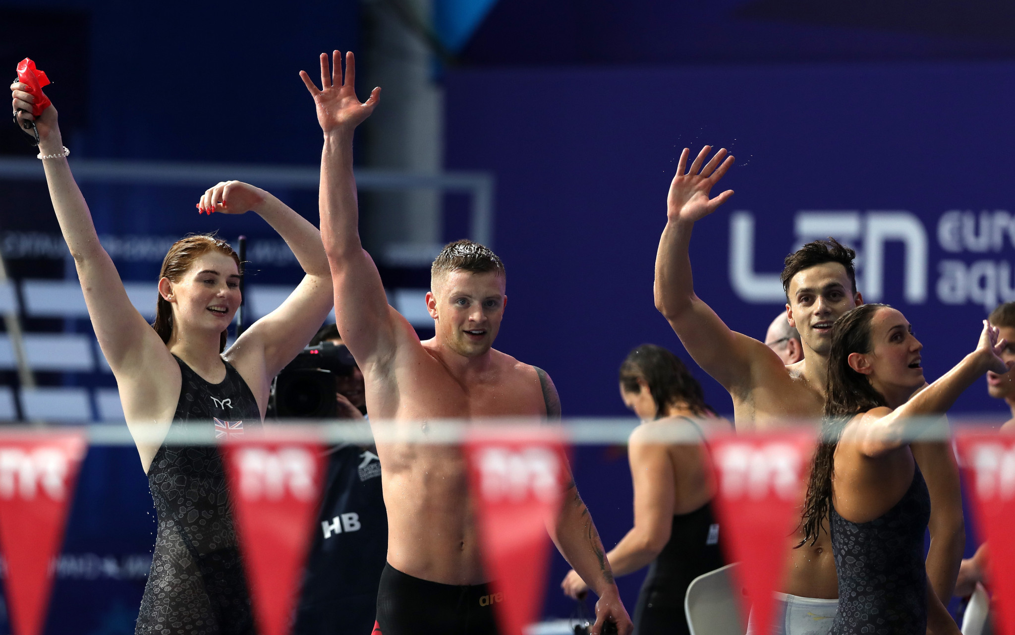 Hosts Great Britain broke their own continental record in the mixed 4x100 metres medley relay to round off the fourth evening of swimming action at the Glasgow 2018 European Championships ©Getty Images