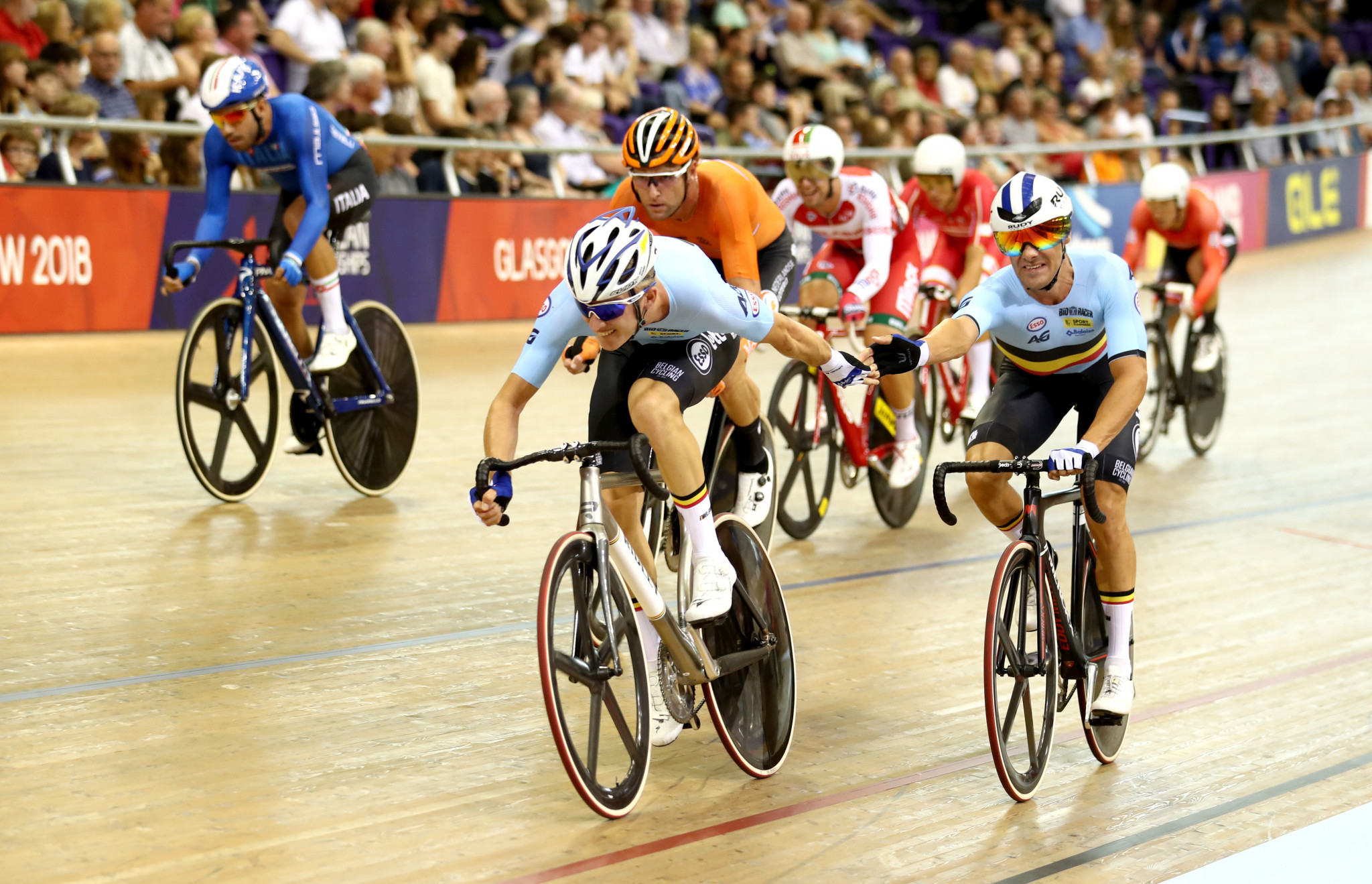 Belgium's Kenny De Ketele and Robbe Ghys won the men's madison competition ©Getty Images