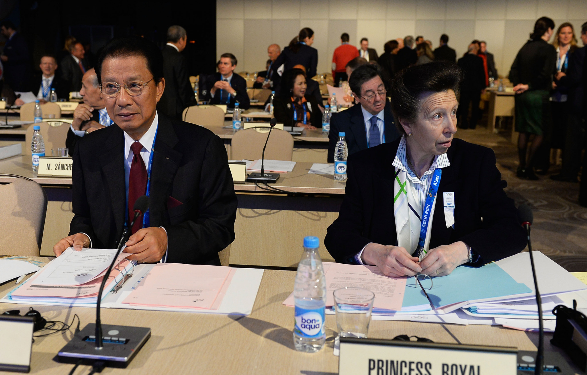 Nat Indrapana, left, alongside British IOC member Princess Anne at the 2014 IOC Session in Sochi ©Getty Images