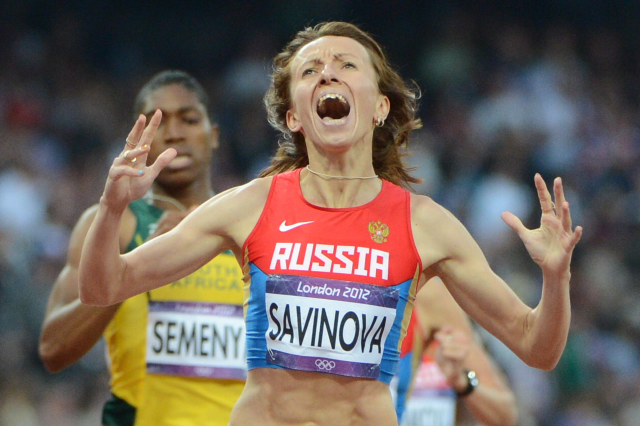 Russia's Mariya Savinova beat South Africa's Caster Semenya to the Olympic 800 metres at London 2012 ©Getty Images