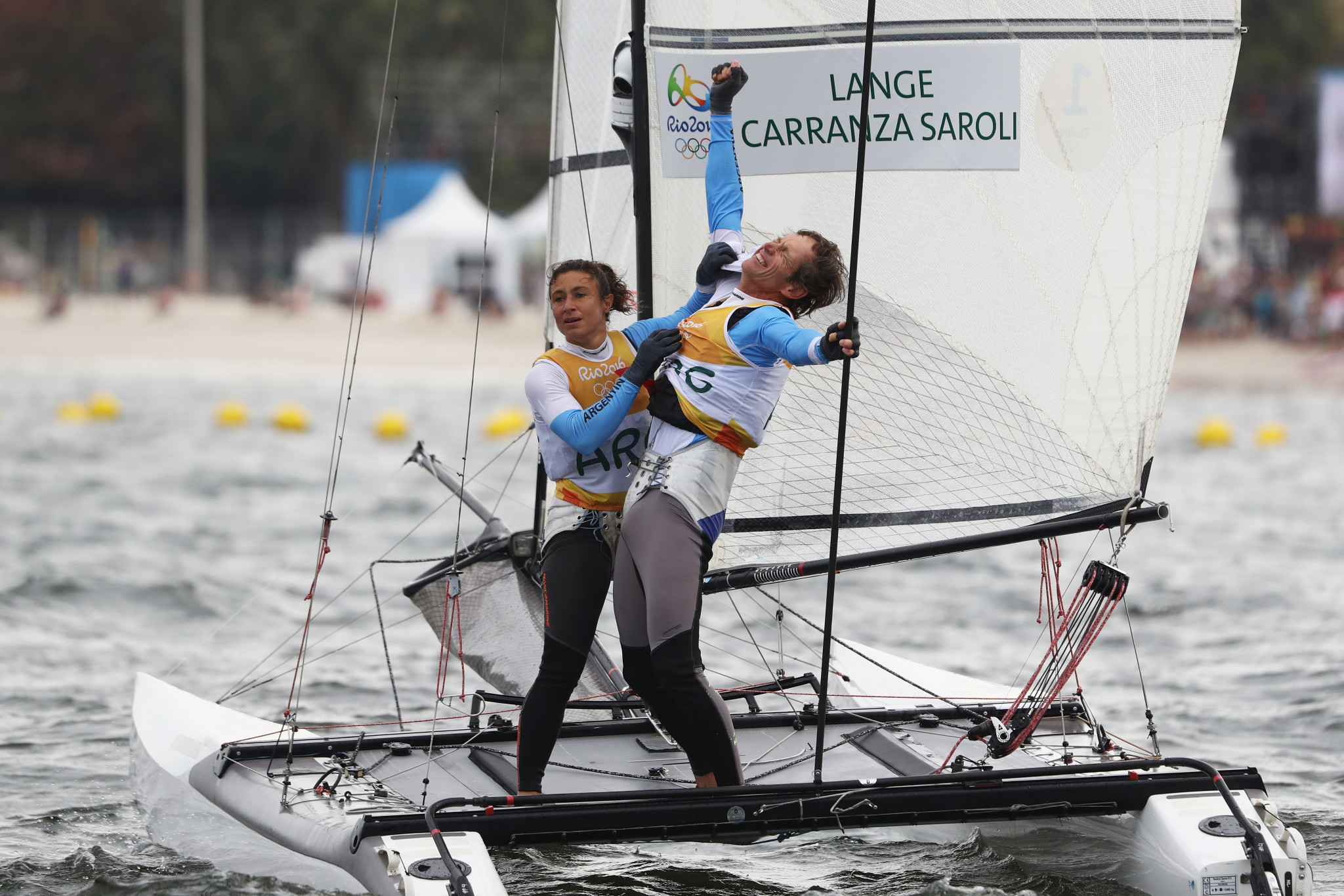 Olympic champions Santiago Lange and Cecilia Carranza Saroli lead the Nacra 17 class ©Getty Images