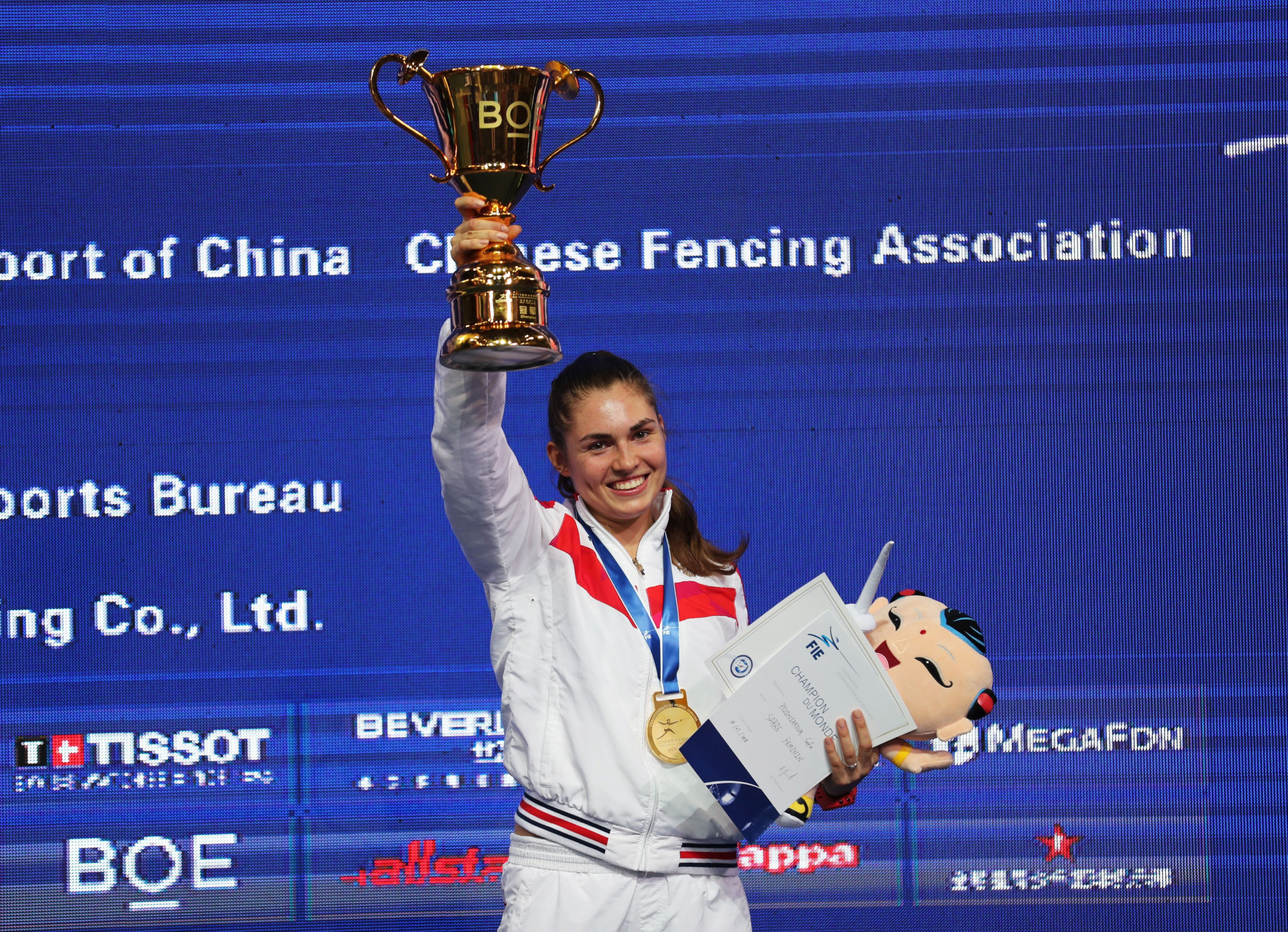 Sofia Pozdniakova, the daughter of Stanislav Pozdnyakov, was crowned world fencing champion last month ©Getty Images