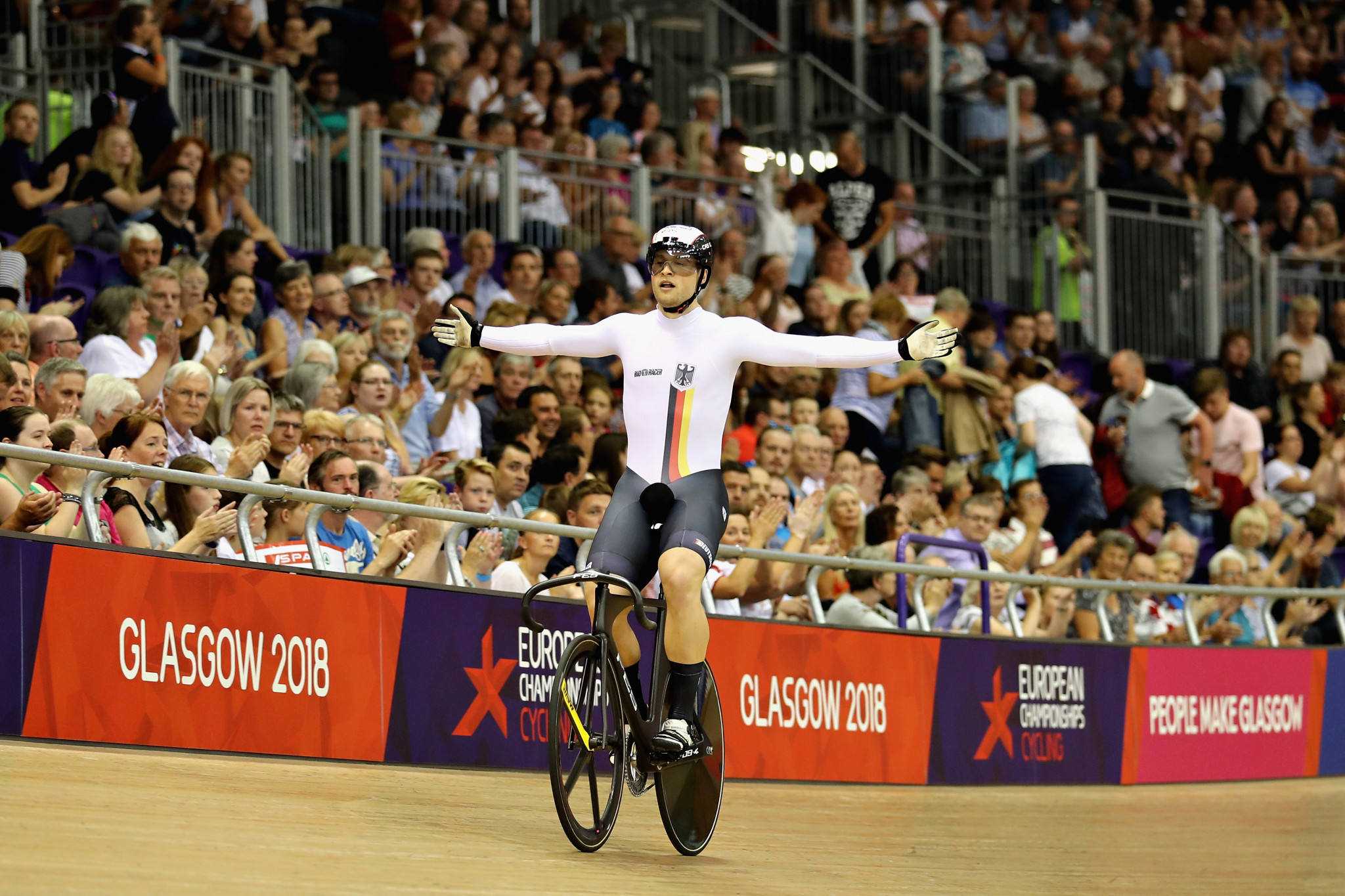 Stefan Botticher triumphed in the men's keirin event to conclude the track cycling programme ©Getty Images