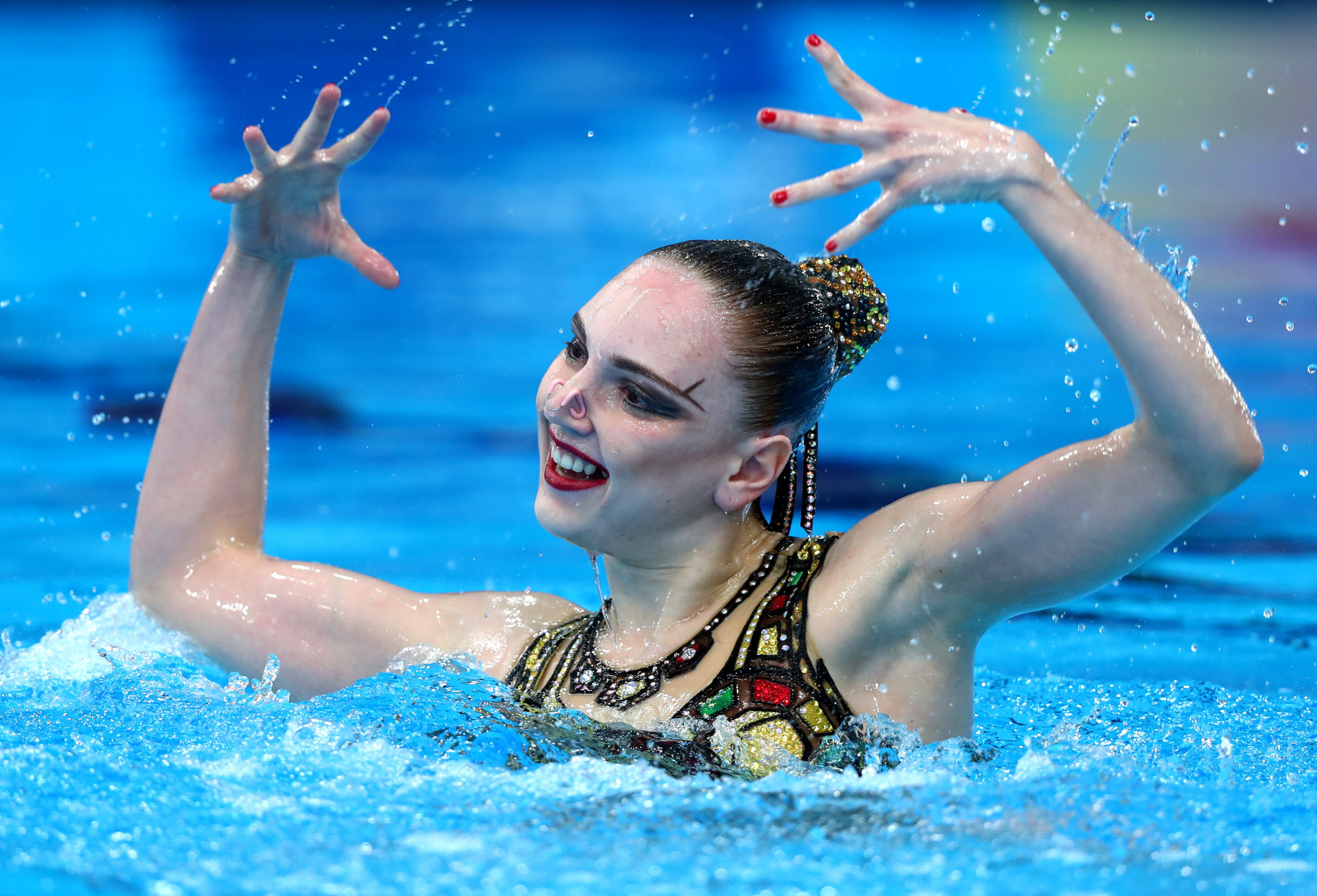 Svetlana Kolesnichenko won her third and fourth and Russia's sixth and seventh golds in artistic swimming. It means Russia will leave Glasgow with seven out of a possible eight artistic swimming titles ©Getty Images