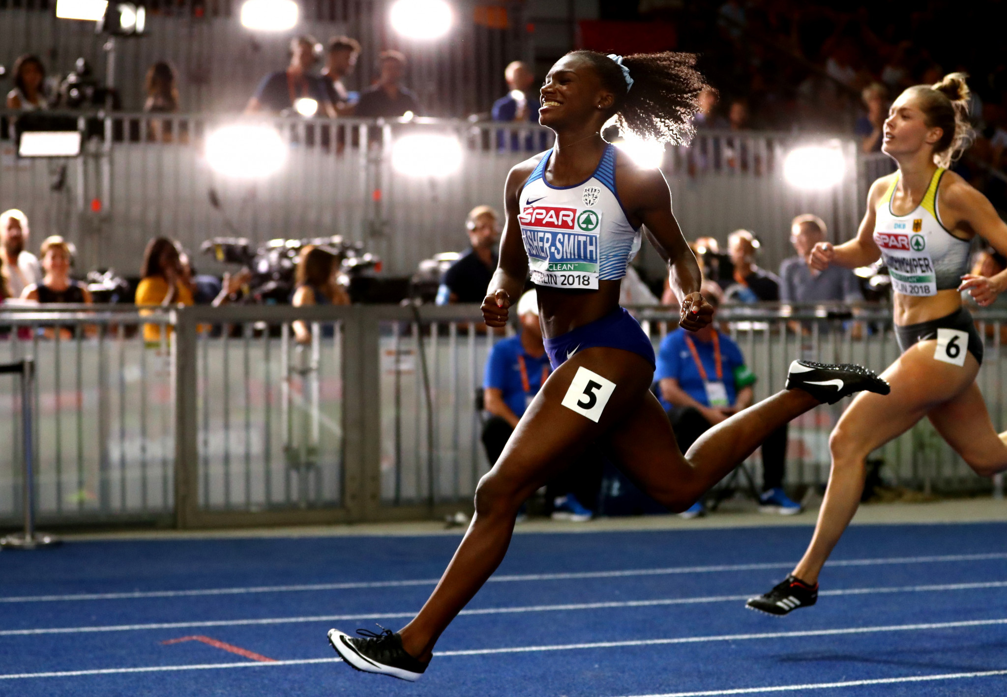 Over in Berlin, Dina Asher-Smith won the first of two golds for Great Britain in the 100m, corssing the line in a national record of 10.85secs ©Getty Images