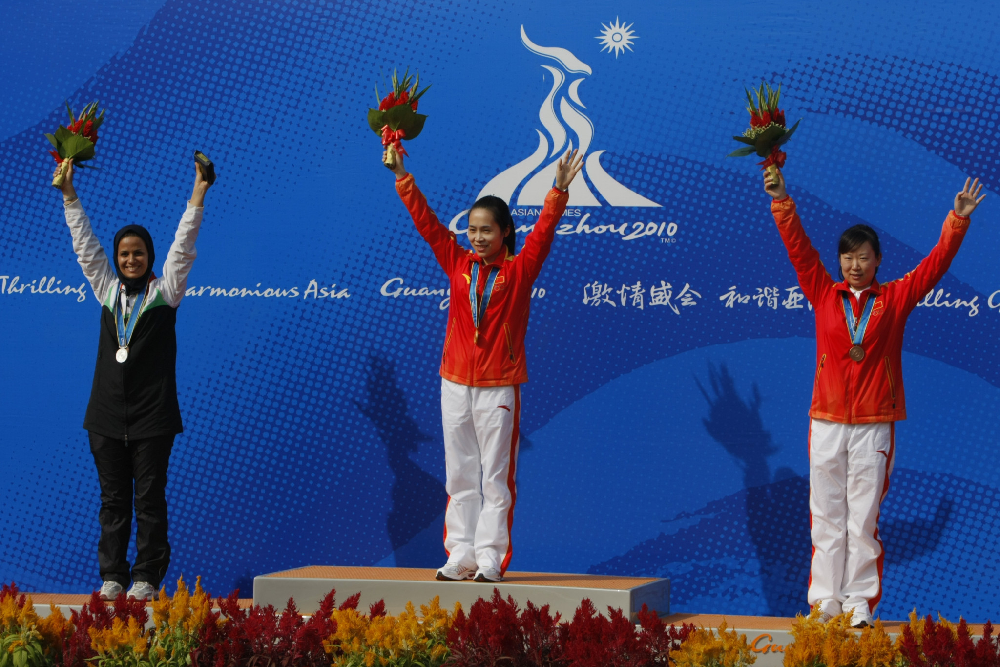 Elaheh Ahmadi, left, has won four Asian Games medals during her career, including three at Guangzhou 2010 ©Getty Images