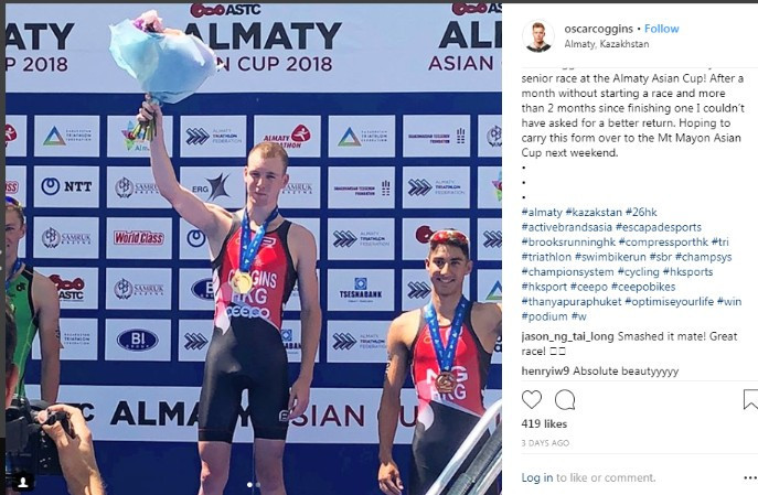 Hong Kong's promising young triathlete Oscar Coggins enjoyed the best victory of his career when he won the Asian Cup event in Almaty but will Jakarta Palembang 2018 because he is still waiting for a passport ©Instagram