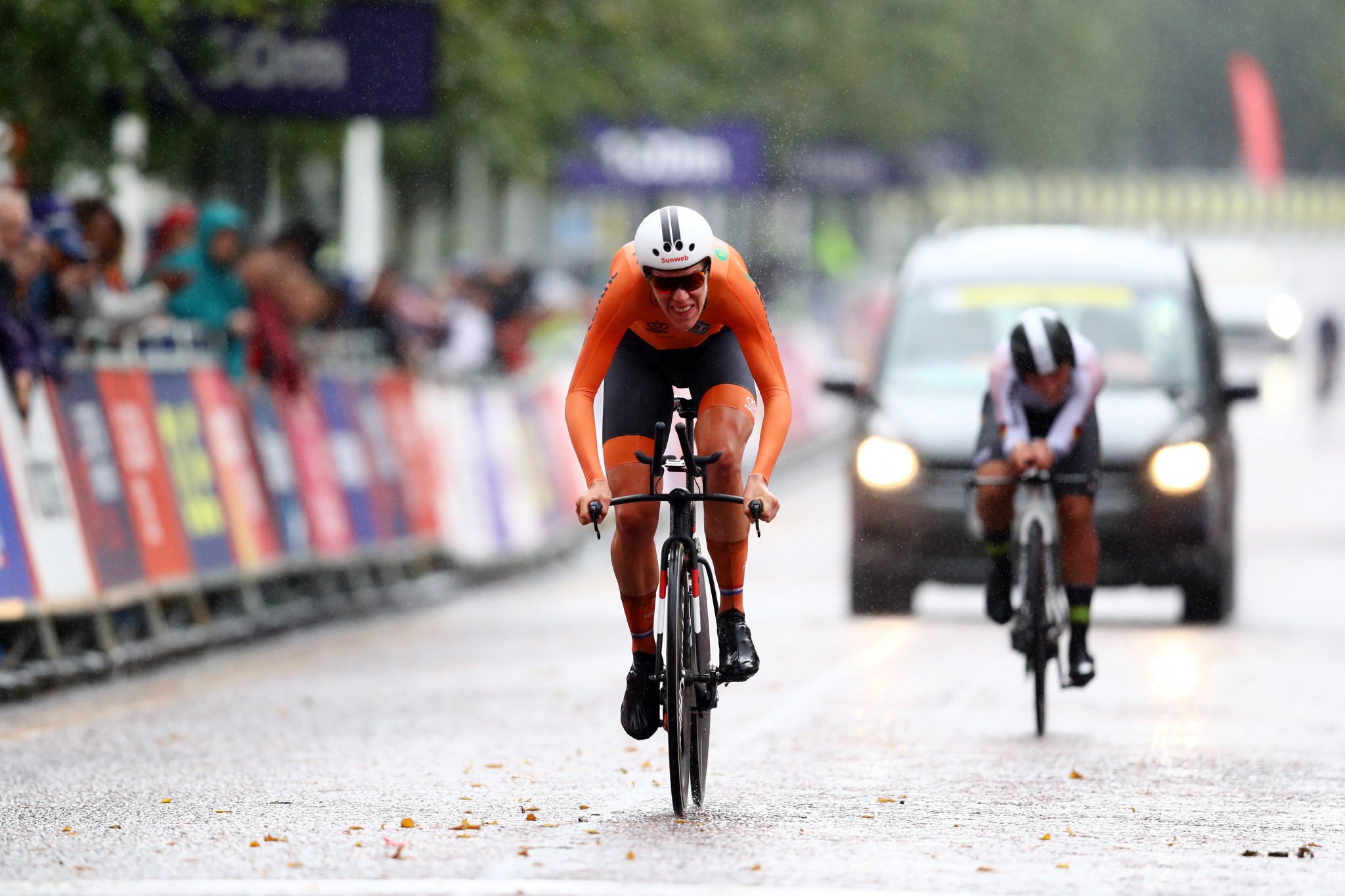 Van Dijk edges compatriot on weather-affected course to win third consecutive European Championships time trial gold