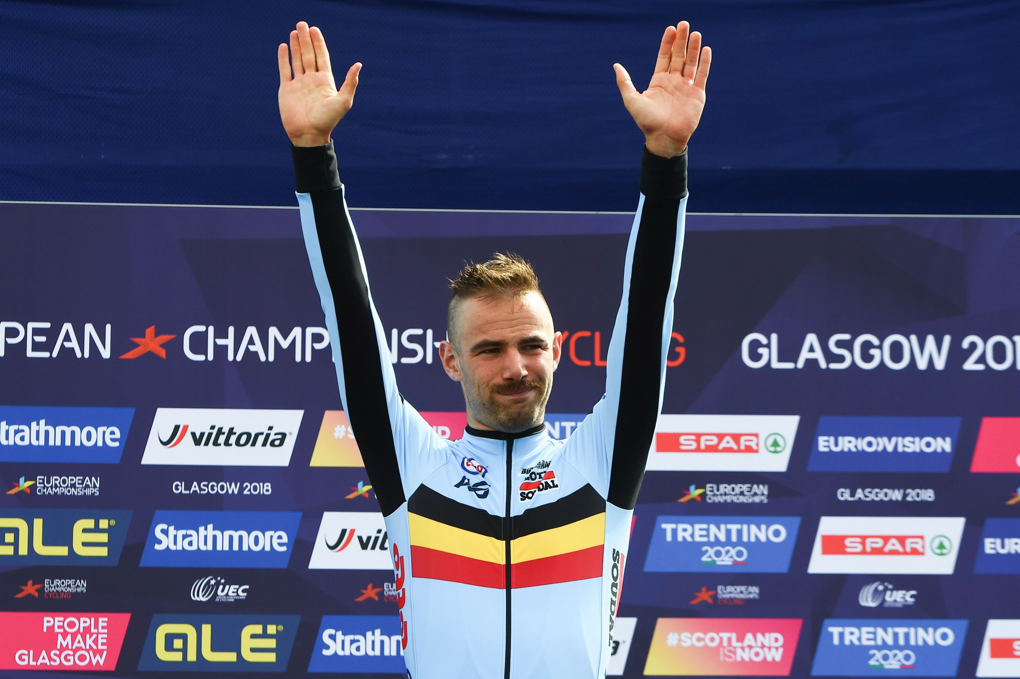 Victor Campenaerts won the men's time trial competition by less than one second ©Getty Images