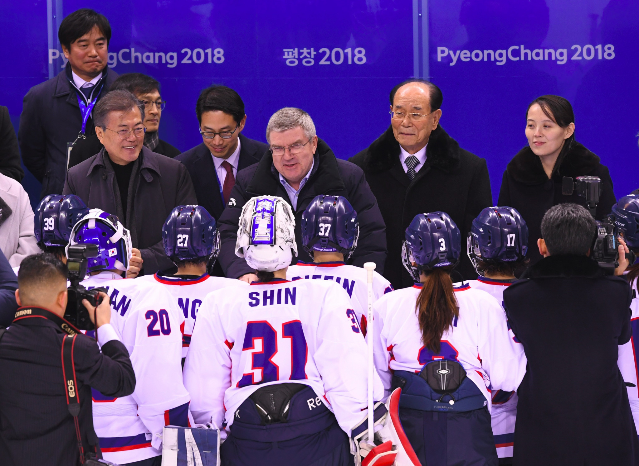 IOC President Thomas Bach addresses the unified Korean ice hockey team at Pyeongchang 2018