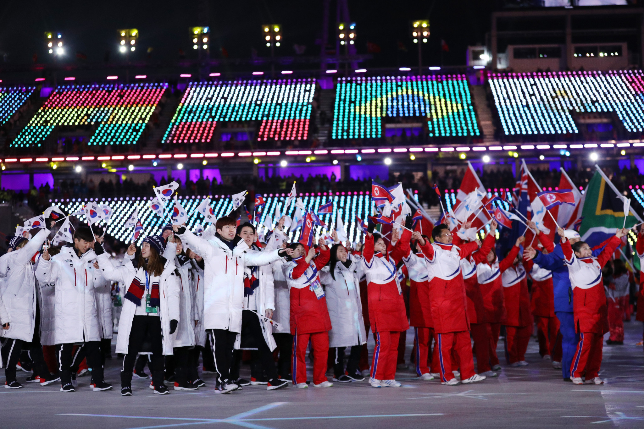 North and South Korean athletes marching together at the Closing Ceremony of Pyeongchang 2018 ©Getty Images