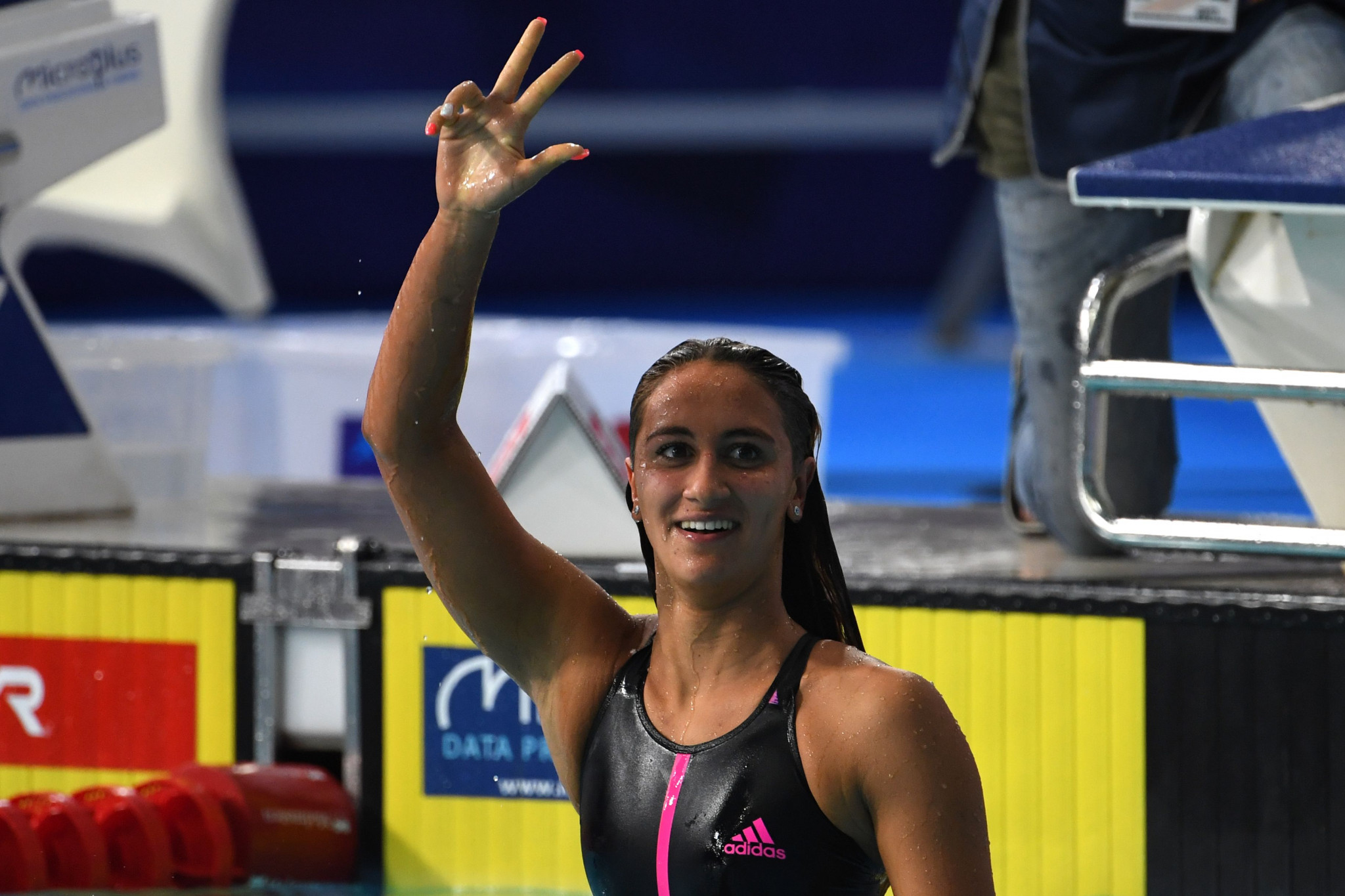 Simona Quadarella was one of three Italian swimming gold medallists today, completing a hat-trick of victories by winning the women's 400m freestyle final ©Getty Images