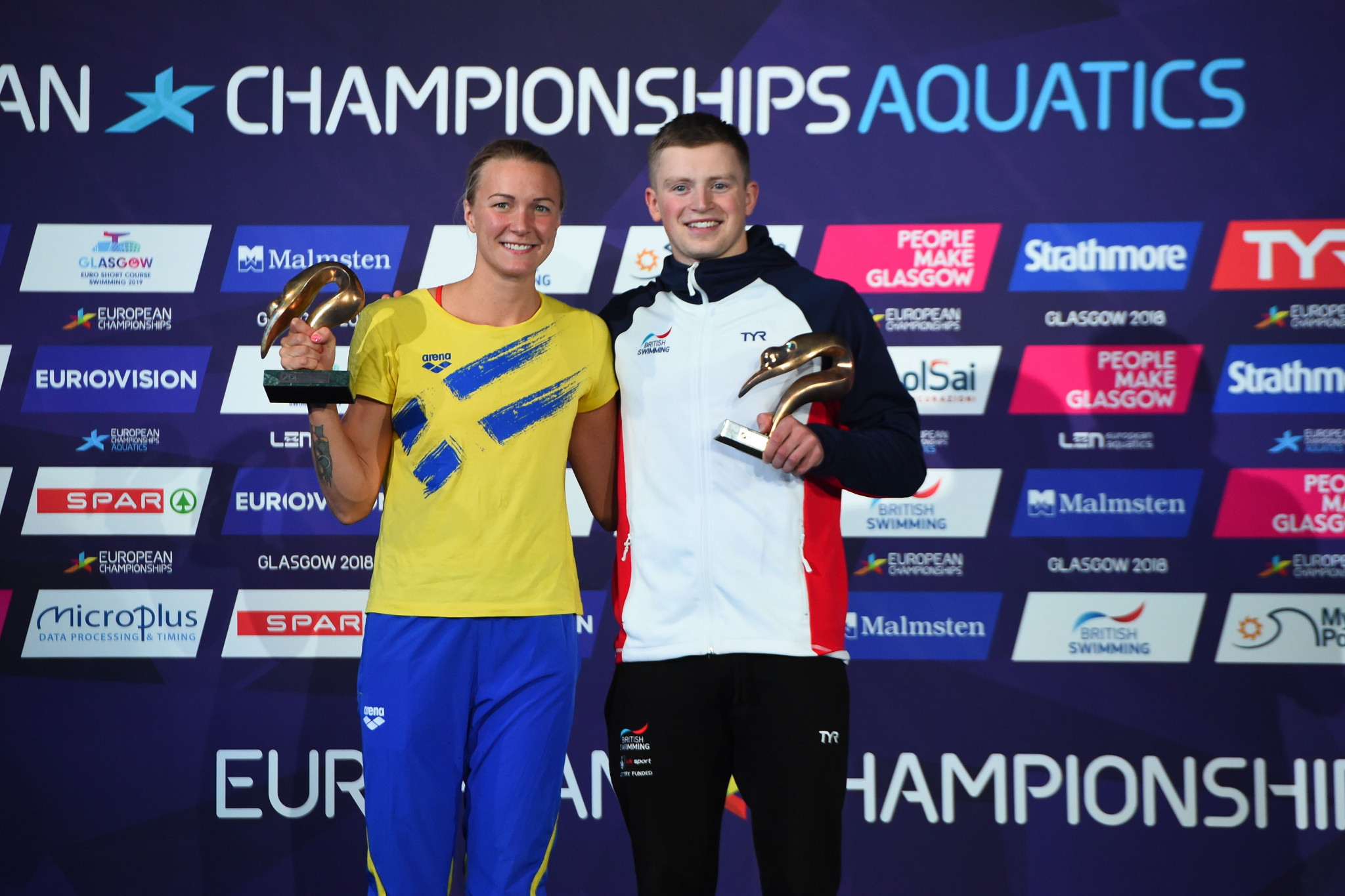 Sweden's Sarah Sjöström and Britain's Adam Peaty were named as swimmers of the Championships ©Getty Images