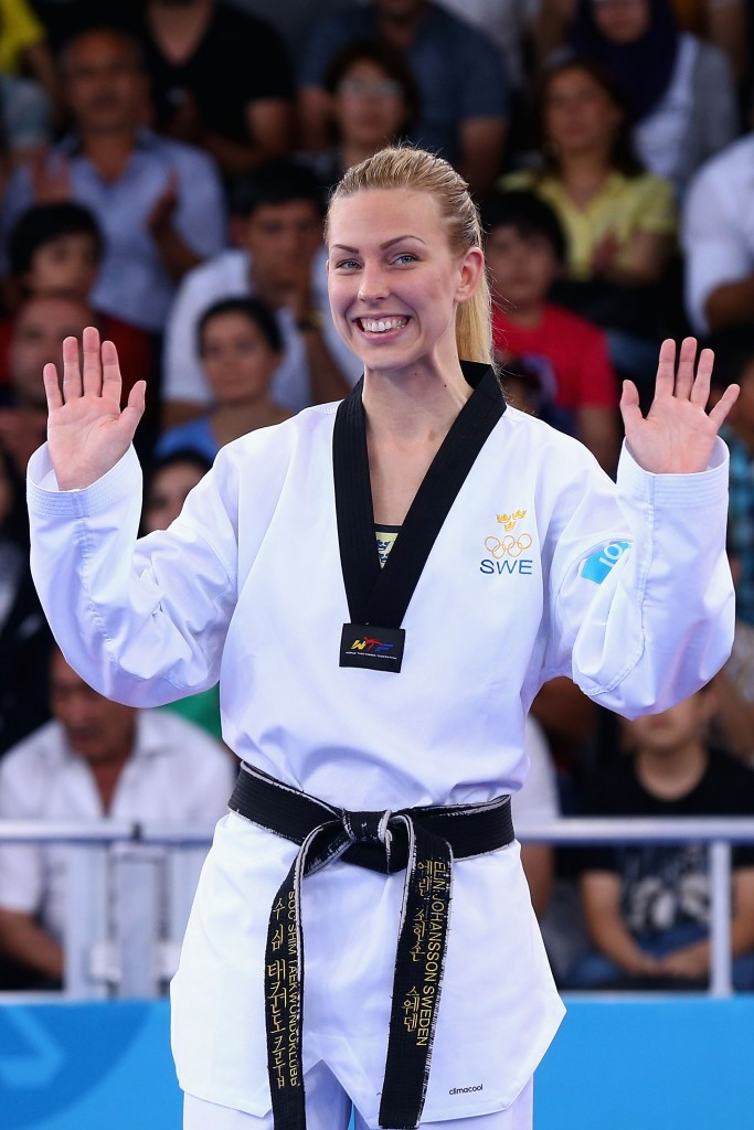 Elin Johansson pictured celebrating bronze at the Baku 2015 European Games ©Getty Images