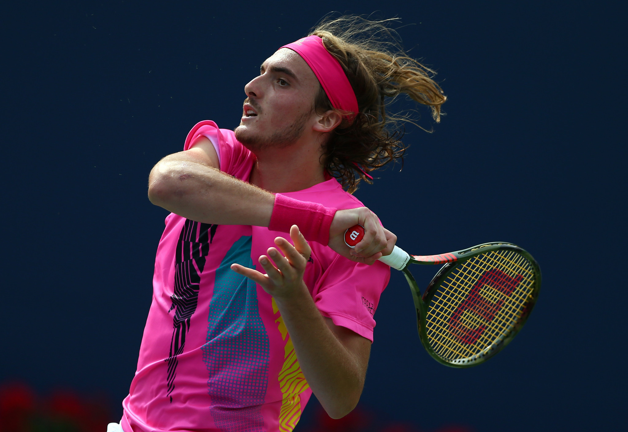 Stefanos Tsitsipas of Greece stunned Novak Djokovic with a three-set victory at the Rogers Cup in Toronto ©Getty Images