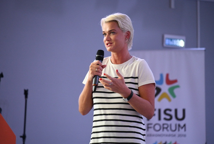 Former Olympic gymnastics champion Svetlana Khorkina has given a talk on the importance of preparing for life after sport, at the FISU Forum in Krasnoyarsk ©FISU