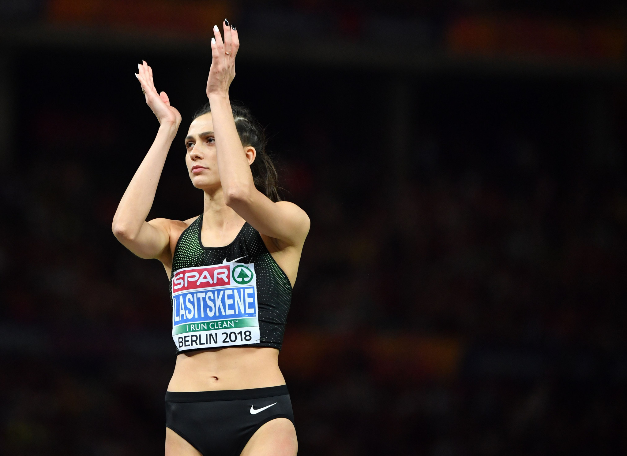 Russia's Mariya Lasitskene secured the first gold medal for the Authorised Neutral Athletes by winning the women's high jump event ©Getty Images