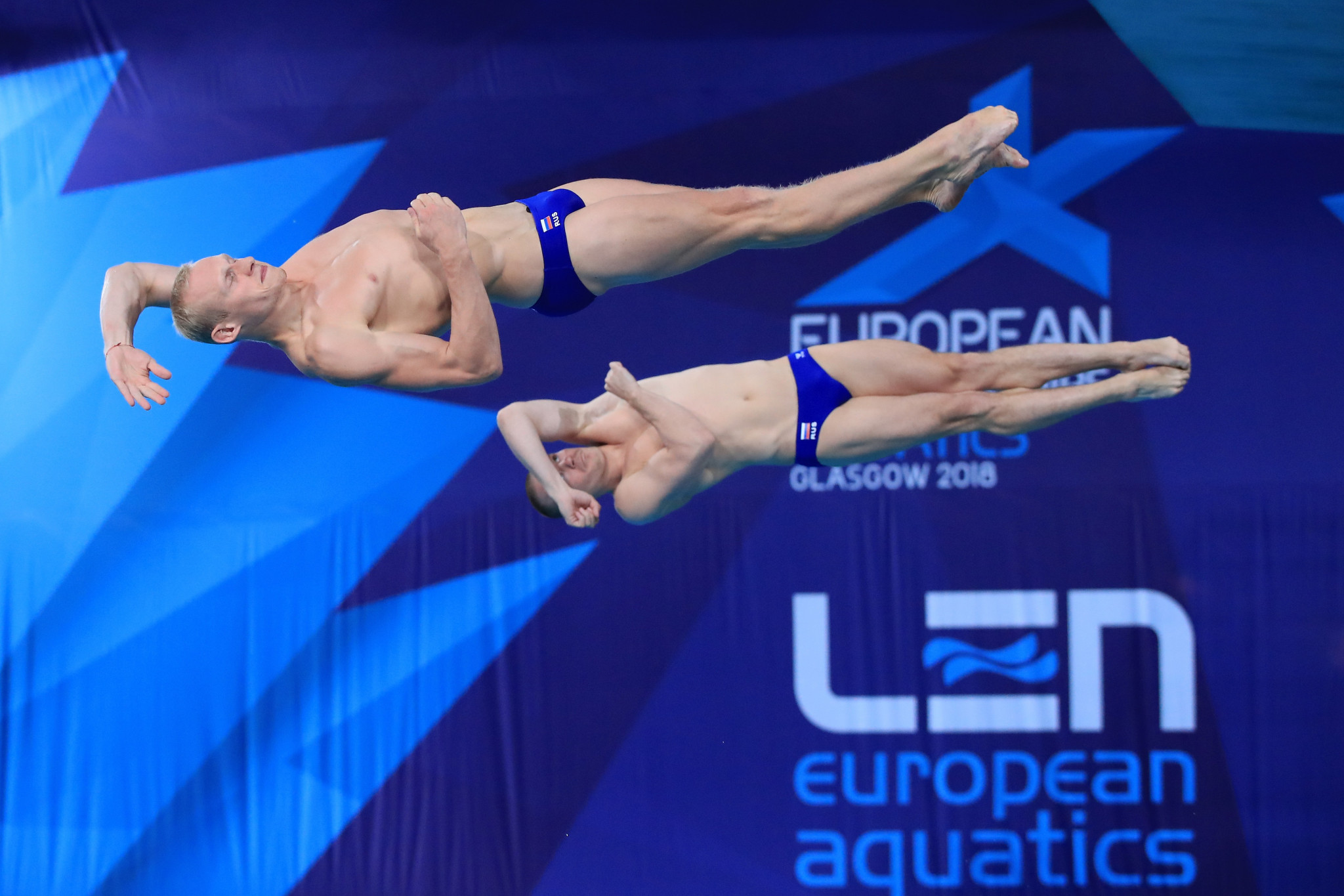 Evgenii Kuznetsov and Ilia Zakharov won the men's synchronised three metres springboard gold medal as Russia dominated today's diving events ©Getty Images