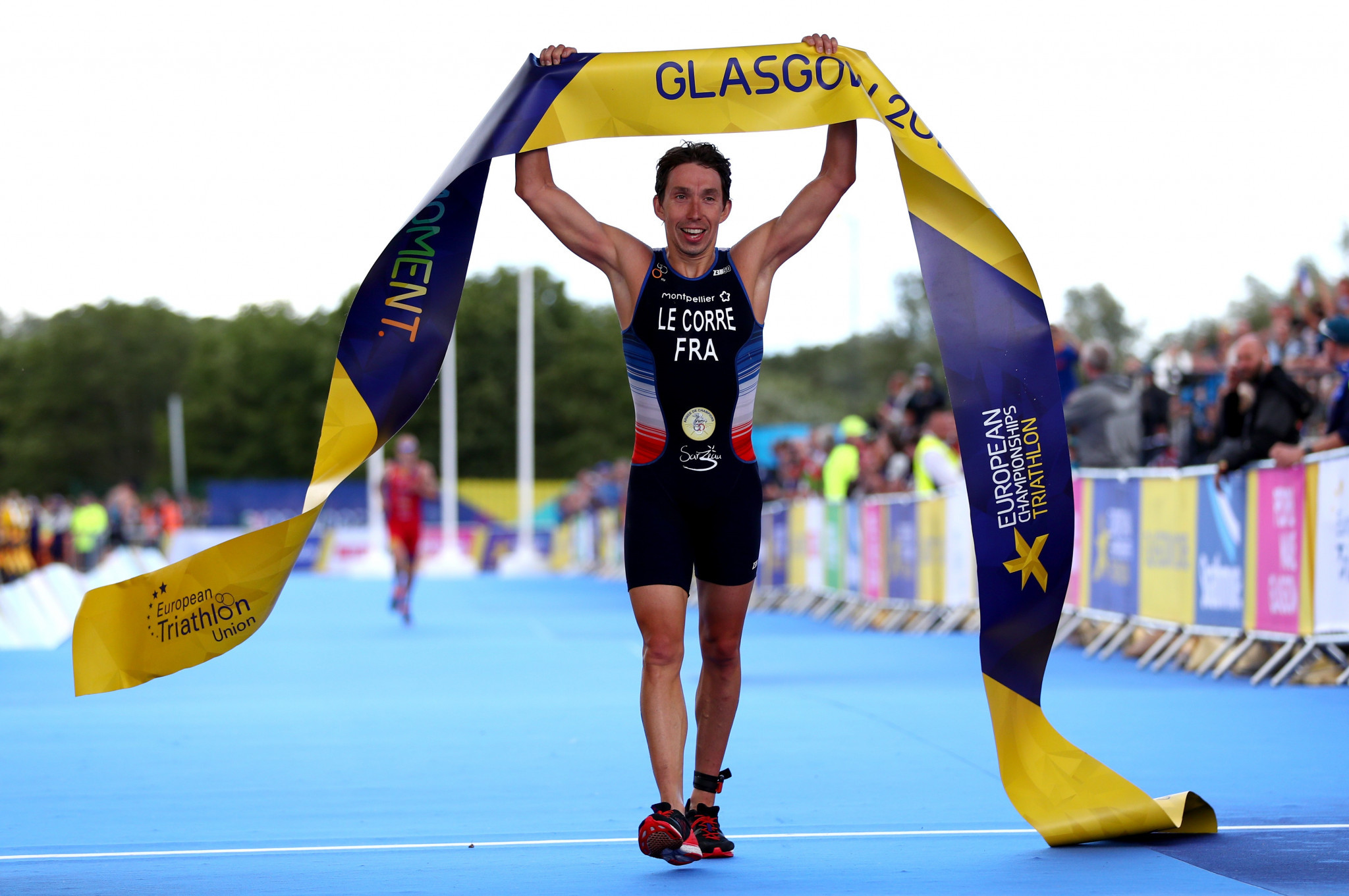 Over in Glasgow, France's Pierre Le Corre came out on top in the men's triathlon ©Getty Images