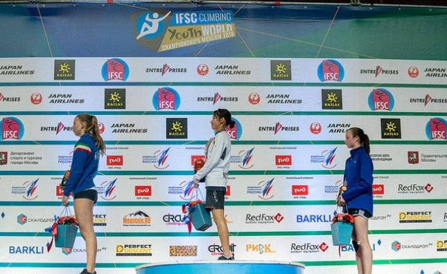 Haram Jeon and Jeong Ji-min claimed South Korea's first speed titles at the IFSC Youth World Championships in Moscow ©IFSC