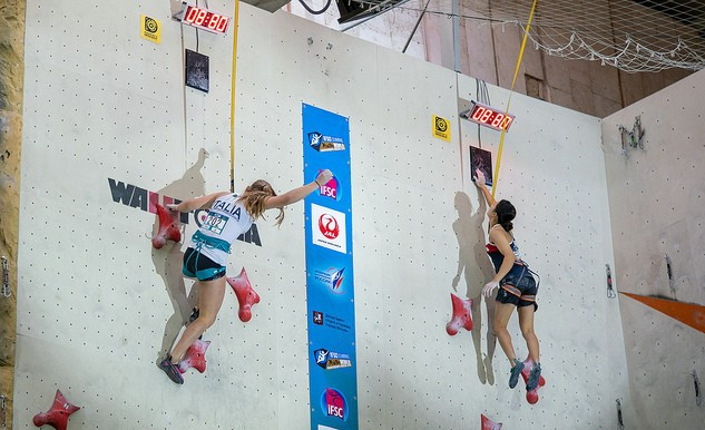 Speed finals in the youth 'B' event took place today ©IFSC
