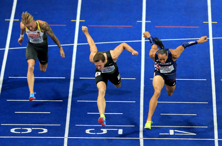 France's Pascal Martinot-Lagarde, right, wins the European 110m hurdles title by two thousandths of a second from Sergey Shubenkov, competing under the Authorised Neurtral Athletes banner ©Getty Images