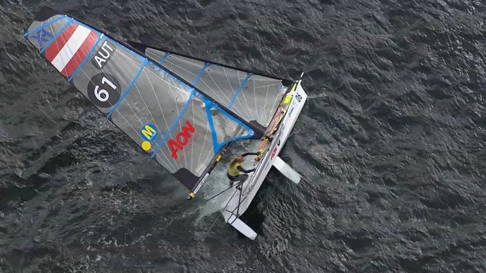 Austrian Tanja Frank and Lorena Abicht capsized after falling victim to a huge wind shift in the 49erFX ©World Sailing
