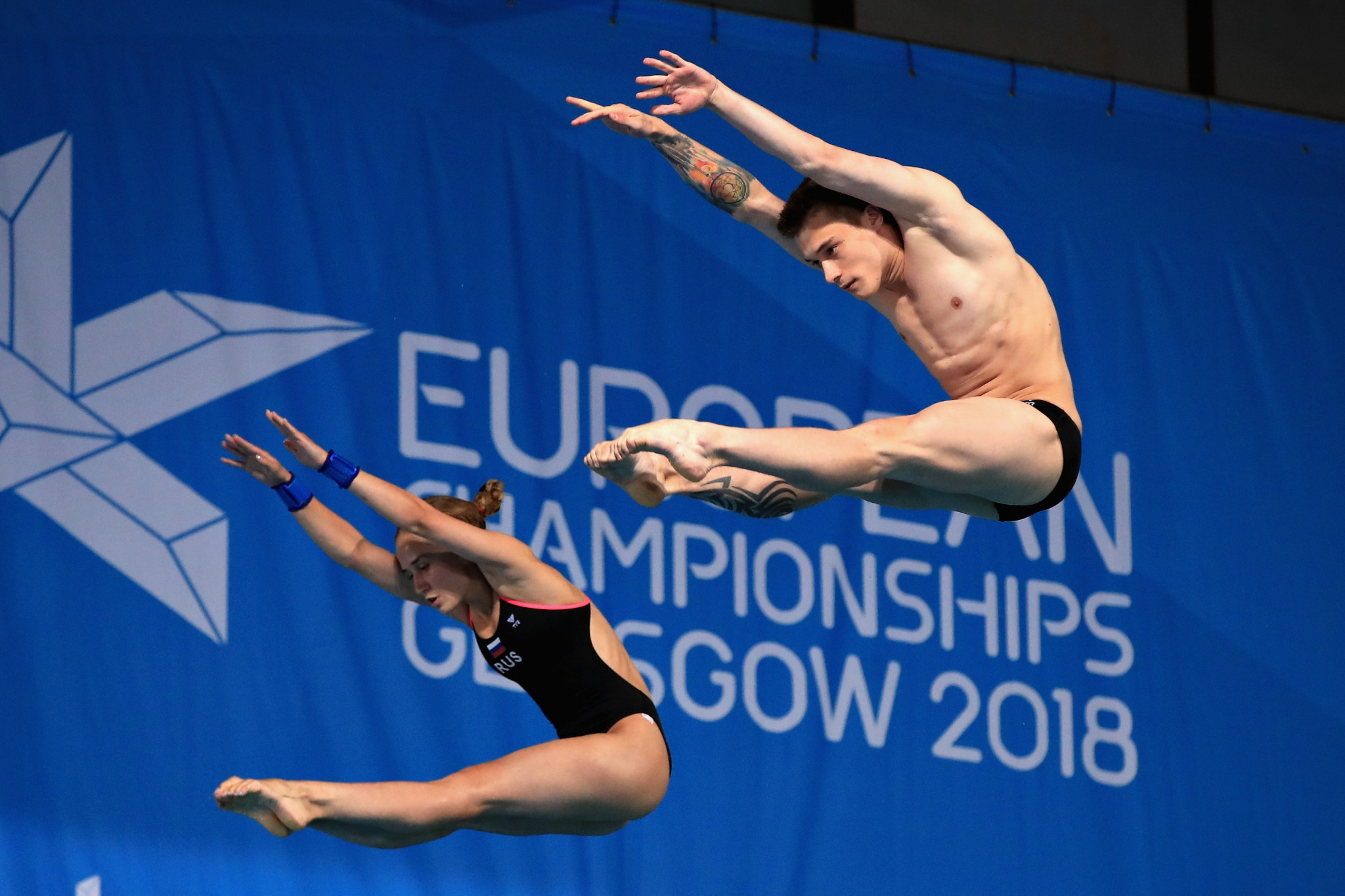 Russia's Yulia Timoshinina and Nikita Shleikher secured victory in the mixed synchronised 10 metres platform final ©Getty Images