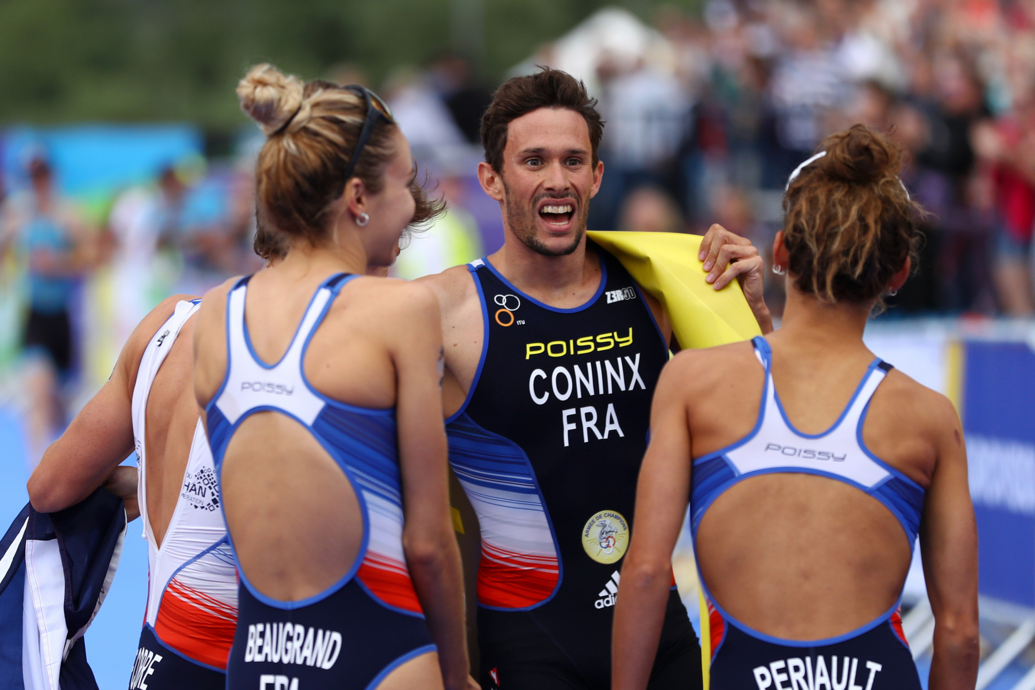 Dorian Coninx wrapped up world champions France's success in the mixed team relay triathlon event
