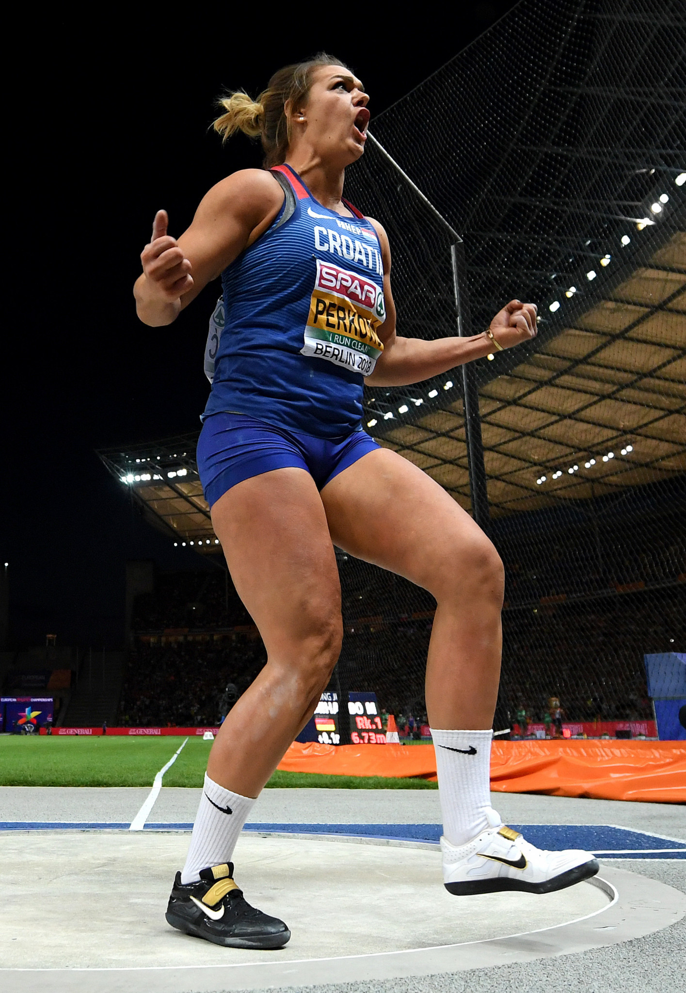 Croatia's Sandra Perkovic reacts after a fifth round discus throw that made her the only athlete to have won five European titles in the same event ©Getty Images